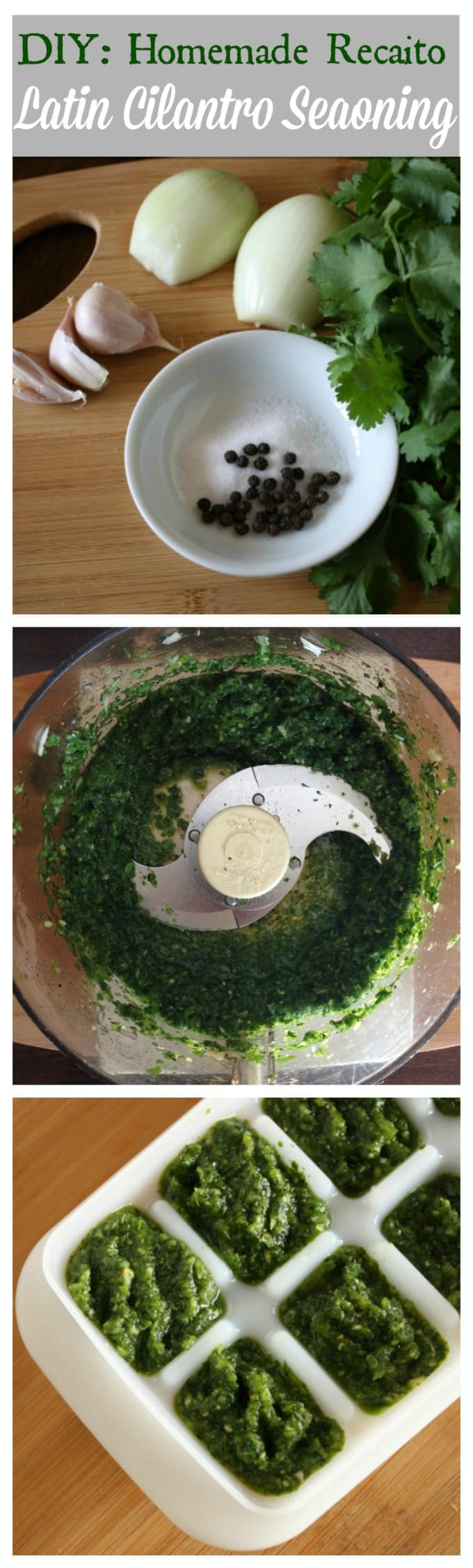 Home made recaito recipe for Latin American cilantro base dishes and seasoning | ethnicspoon.com