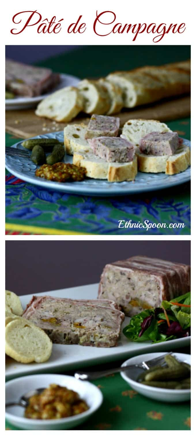 French country terrine wrapped in bacon and baked! This is one of my all time favorite appetizers! | ethnicspoon.com #terrine #pate