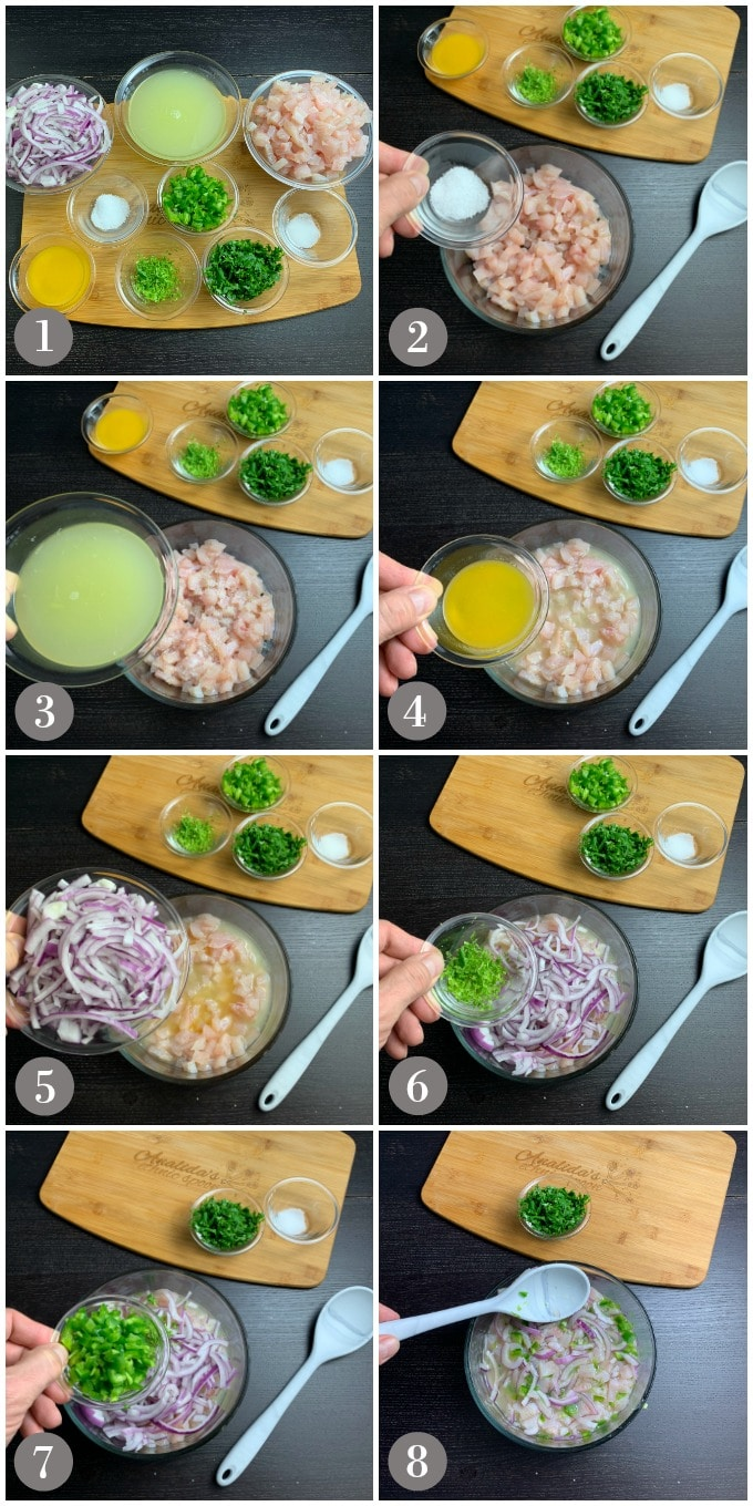 A collage of photos showing the ingredients and steps to make ceviche de tilapia.