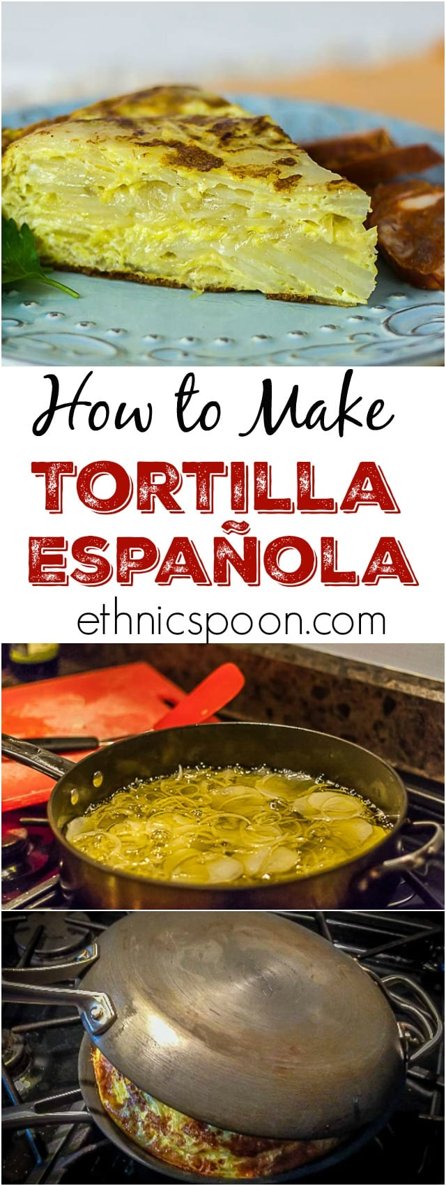 Learn how to make this Spanish tapas classic. Layers of creamy egg, potato, and onion come together in this pie. | ethnicspoon.com #potatopie #tapas #spanishfood