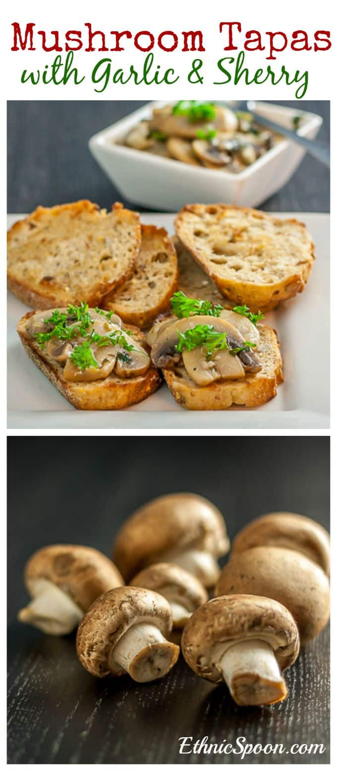 Spanish style mushroom tapas in garlic and sherry sauce. | ethnicspoon.com