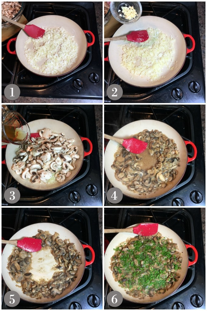 Collage of mushrooms cooking in a red pan with onions, sherry and garlic.