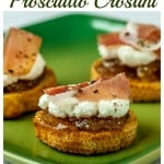 A super quick and easy appetizer: Fig preserves with ricotta and prosciutto crostini.