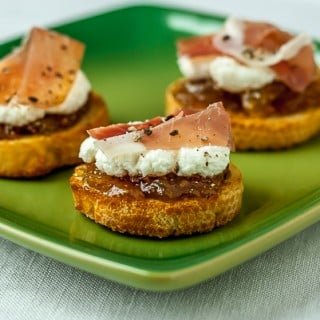 Crostini with ricotta, fig preserves, and prosciutto