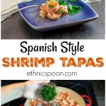 Spanish style style shimp on a blue plate.