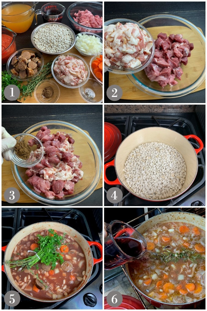 A collage of photos showing the ingredients and steps to make classic French cassoulet.