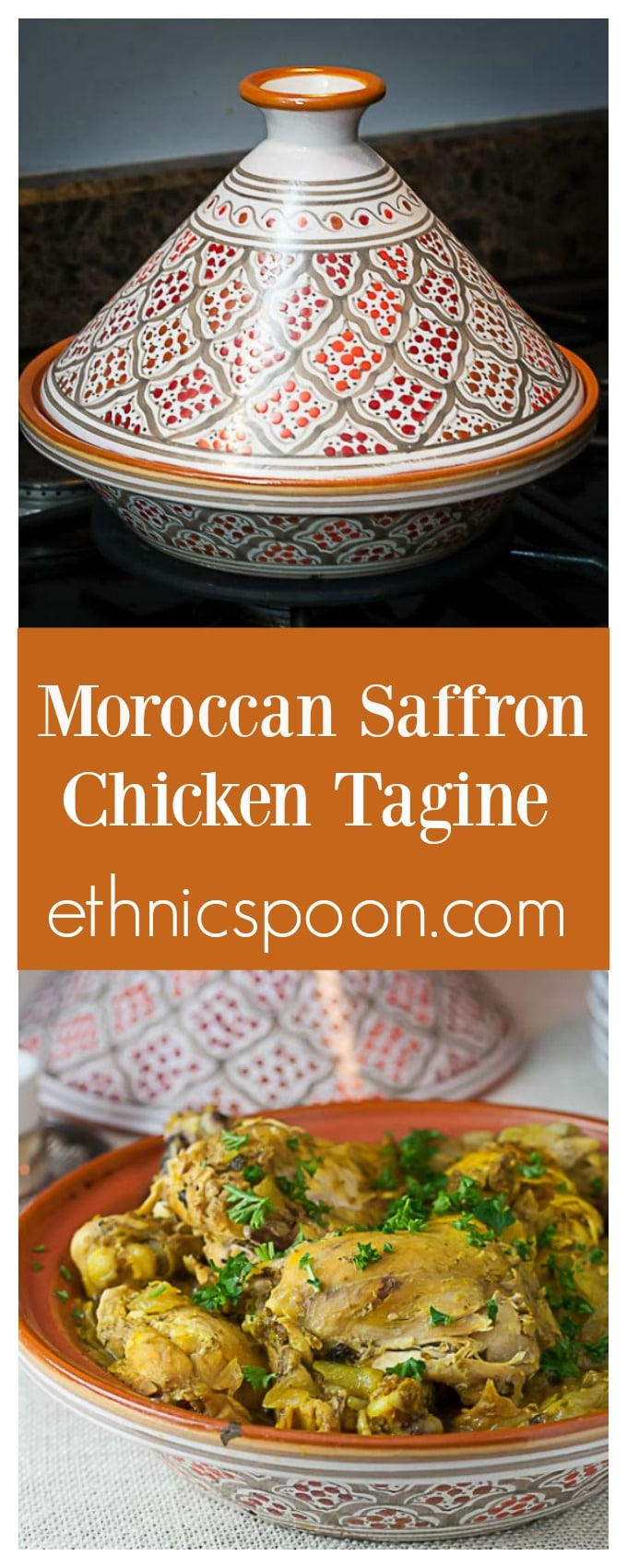 Try Moroccan Saffron Chicken Tagine is fragrant and warming. Make it in a crockpot or the traditional earthen vessel. ethnicspoon.com| #saffronchicken #africanfood #taginerecipes