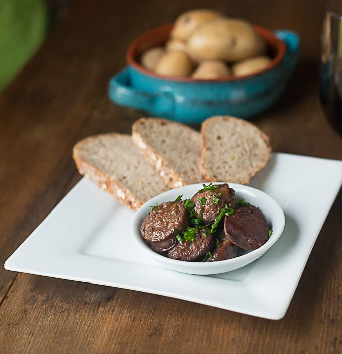 Spanish Tapas: Chorizo in a red wine and shallot sauce. | ethnicspoon.com
