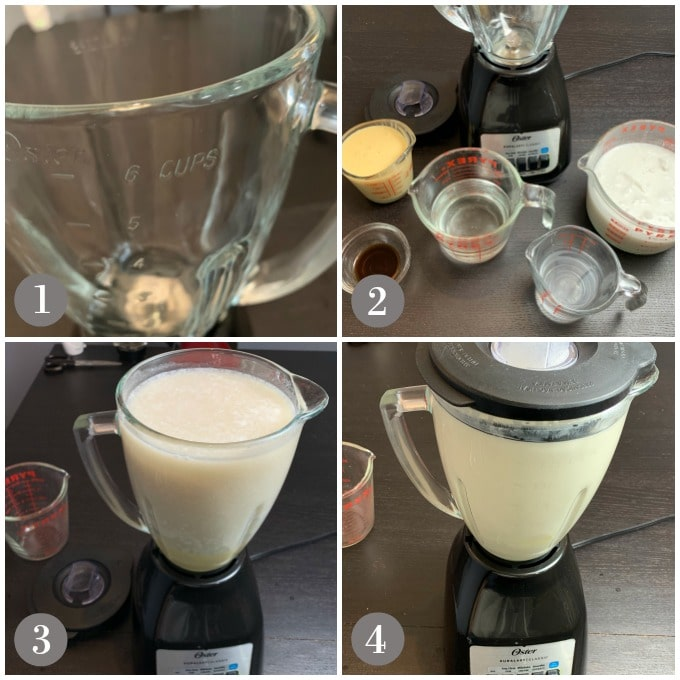 Collage of photos with a blender and ingredients with steps to make coquito.