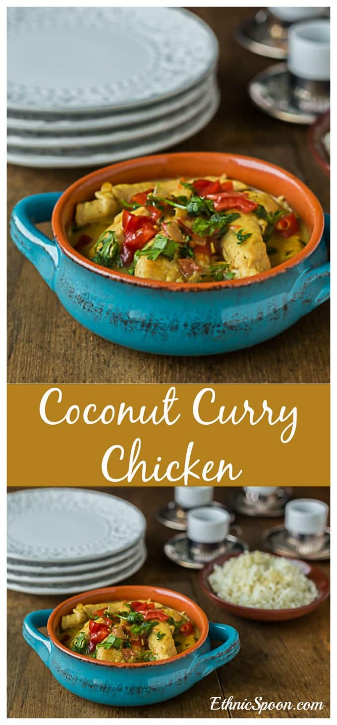 A quick and easy coconut curry chicken is a sweet and savory blend of flavors with coconut milk and garam masala. | ethnicspoon.com