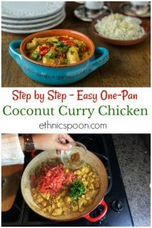 Coconut curry chicken in a turquoise dish.