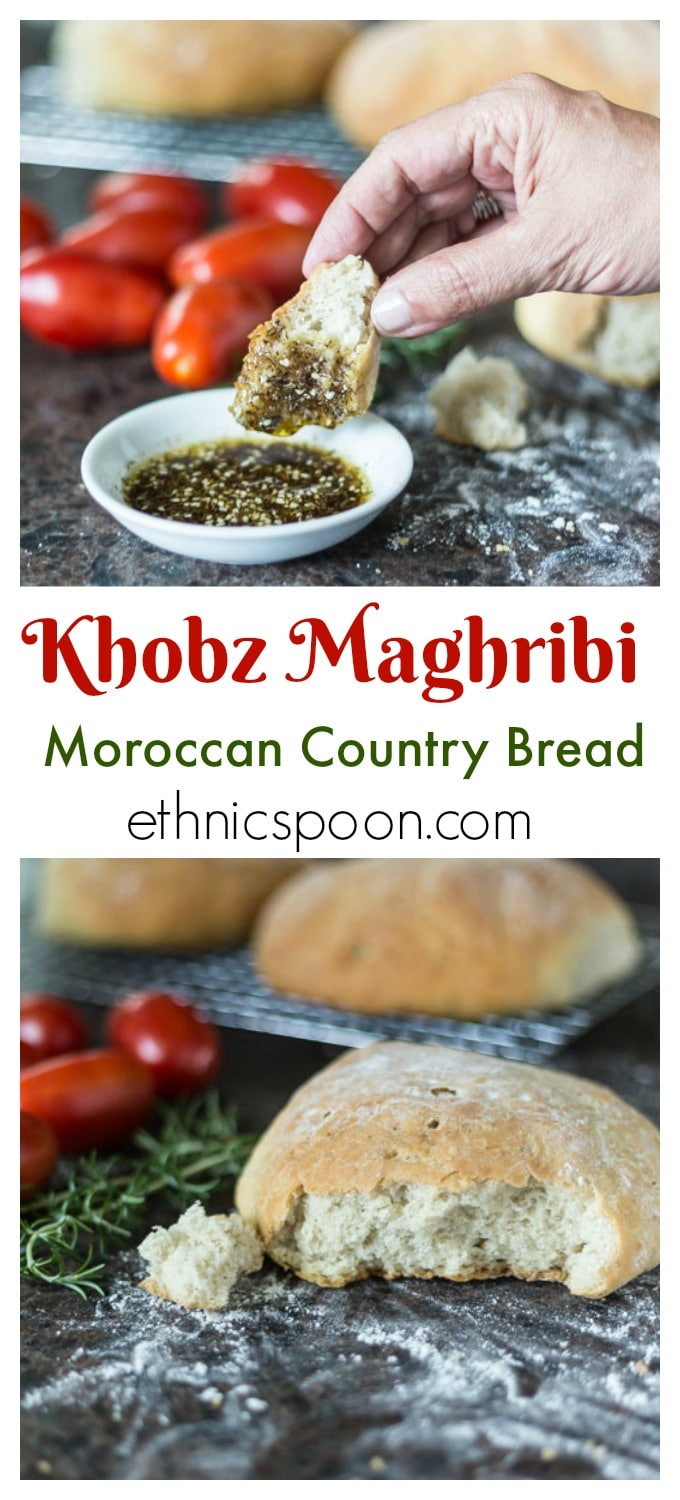 Here is super easy how to recipe for Moroccan bread you have to try! Moroccan country bread is lovely in its simplicity and rustic style. This bread, baked in small loaves, is also know in Arabic name Khobz Maghribi is often used as the utensil when eating a delicious tagine dish. Imagine sitting in restaurant in Marrakesh soaking up some flavorful dish with this bread! Exquisite! | ethnicspoon.com