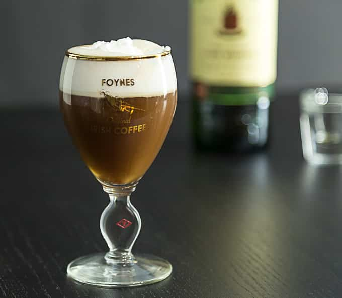 Irish coffee in the original recipe glass from Foynes, Ireland