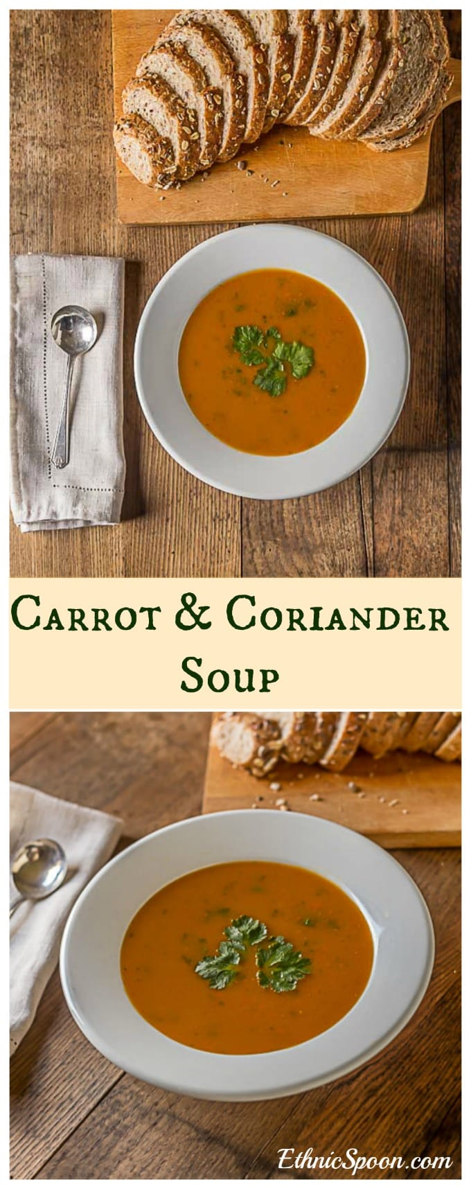 Irish inspired carrot coriander soup with a nice crusty bread plus the history of carrots throughout the ages. | ethnicspoon.com #irishsoup #healthyandhearty #europeansoup