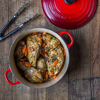 Chicken Tarragon, delicious and hearty cooked in traditional Le Creuset Dutch Oven.|ethnicspoon.com