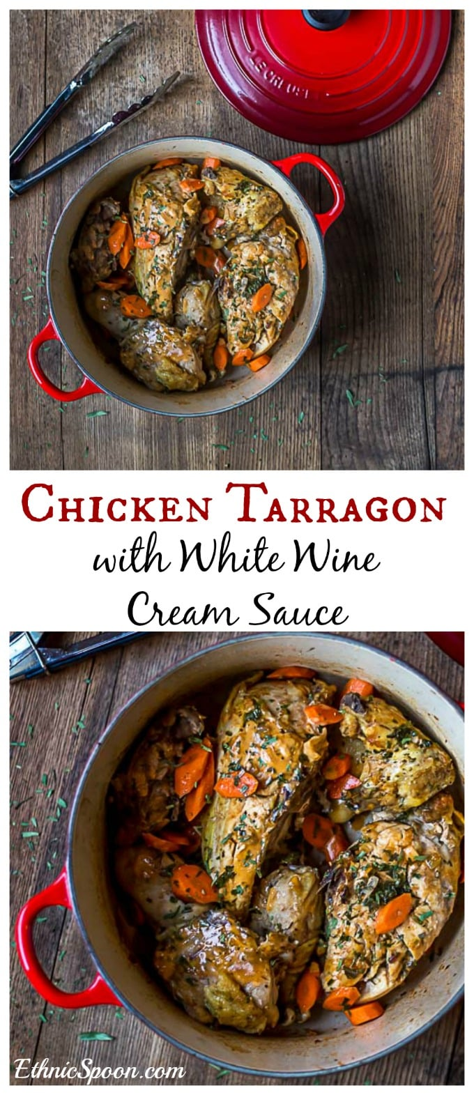 A classic French dish with a whole roaster chicken and a creamy white wine sauce. | ethnicspoon.com #tarragonchicken #frenchchicken #roastedchicken