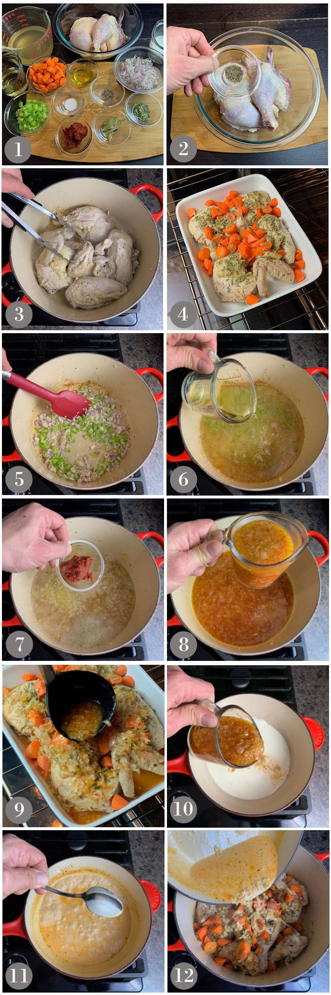 A collage of photos showing the steps to make chicken tarragon.