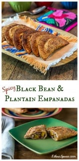 Spicy black bean and plantain empanadas. Crunchy and creamy with some kick! | ethnicspoon.com #tapas #blackbeans #latinfood