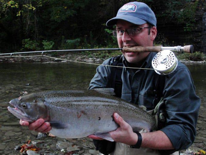 My husband Tom with a Lake Erie steelhead