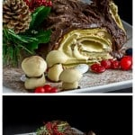 Traditional French buche de noel Christmas cake with almond cream filling. | ethnicspoon.com
