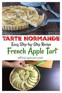 """One the most delicious apple tarts I have ever eaten! A rustic traditional dish from the northern part of France in the region of Normandy. The tarte Normande uses large slices of apple and a rich creamy custard. The use of the word """"Normande"""" usually implies a dish has cream in it. You will love this tart! #appletart #frenchtart #appledessert 