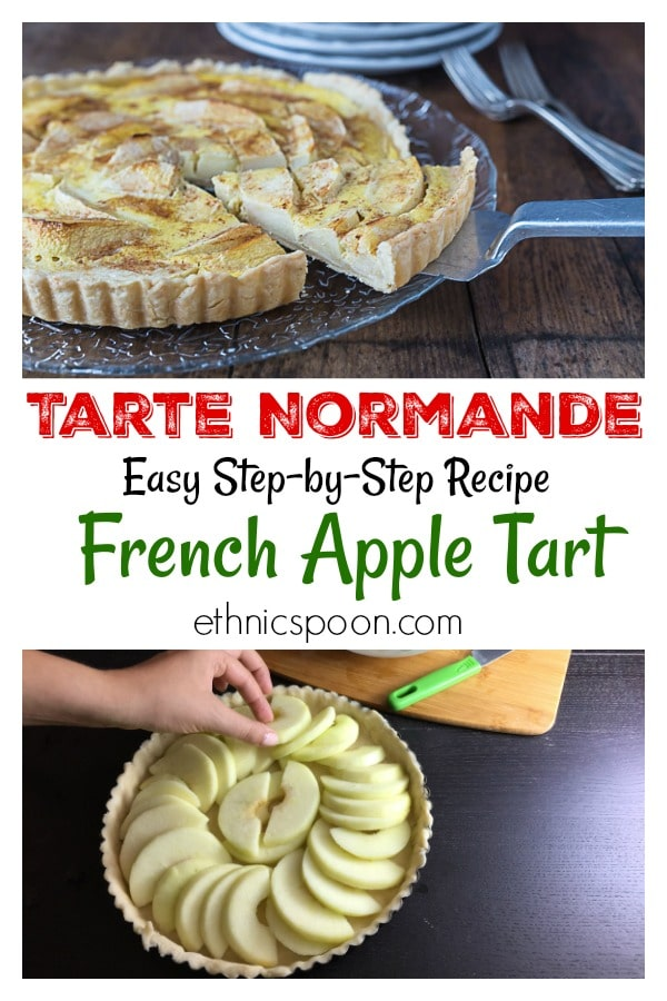 One the most delicious apple tarts I have ever eaten! A rustic traditional dish from the northern part of France in the region of Normandy. The tarte Normande uses large slices of apple and a rich creamy custard.  The use of the word