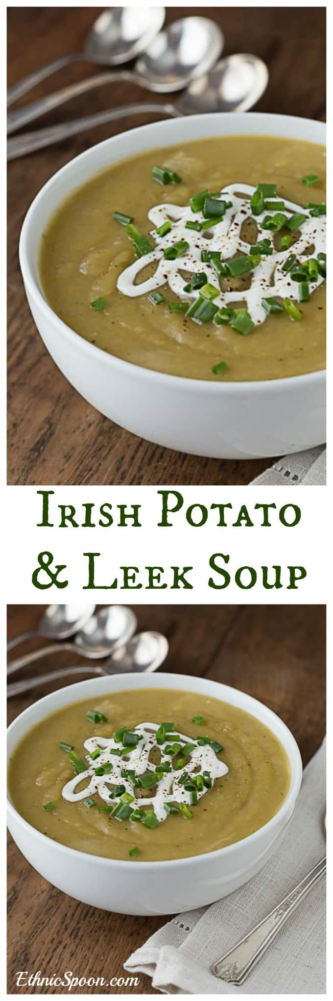 Easy Irish potato leek soup recipe is fast and delicious. Just a few ingredients is all you need. Makes a great vegan meal when you use vegetable stock. |ethnicspoon.com