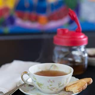 Rose hips tea with biscuit and reCAP flip cap | ethnicspoon.com
