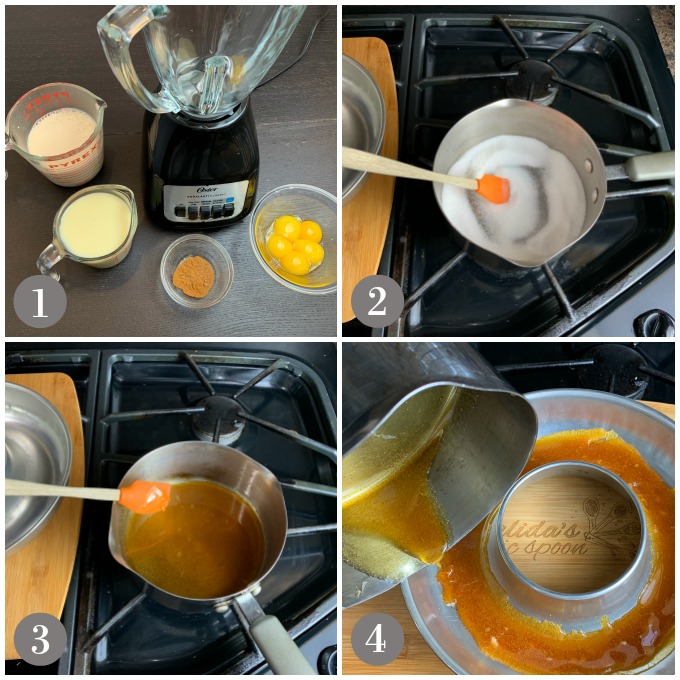 Collage of photos showing a blender and ingredients to make stovetop flan.