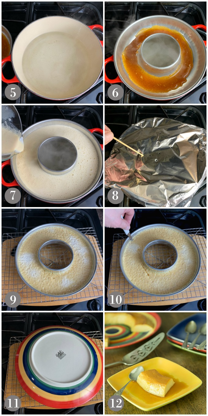 Collage of photos showing flan batter poured into pan for stovetop cooking and serving.