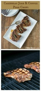 Coffee and jerk seasoning marinated pork chops for some great grilling flavors. | ethnicspoon.com