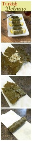 Dolmas or dolmades are very versatile; they can be eaten cold or warm. Traditionally dolmas containing meat are eaten warm with a yogurt sauce that is lightly flavored with garlic. Rice filled dolmas are served cold with a drizzling of lemon juice and olive oil. Dolmas usually have a combination of spices that are both savory and aromatic, a culinary practice of Arab origins.   ethnicspoon.com