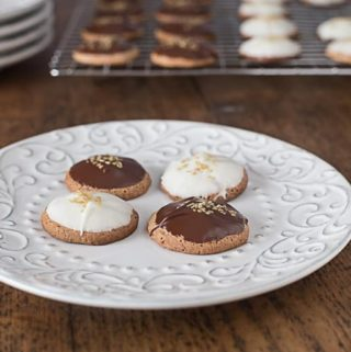 german spice cookies with chocolate on a plate