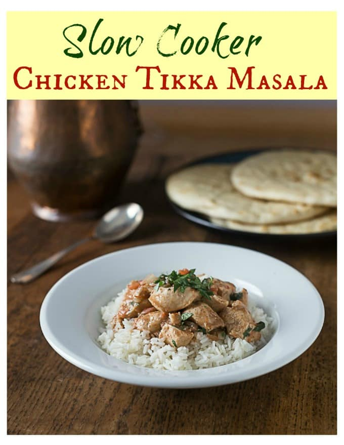 You will LOVE this very simple recipe for chicken tikka masala made in a slow cooker. Spicy and delicious flavors and it's even better if you make you own fresh garam masala! You can check my site for a fresh garam masala recipe too! | ethnicspoon.com #slowcookertikka #easychickentikka #quickchickentikka