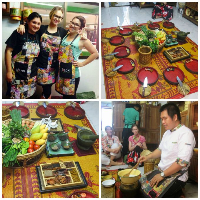 a collage of a cooking class