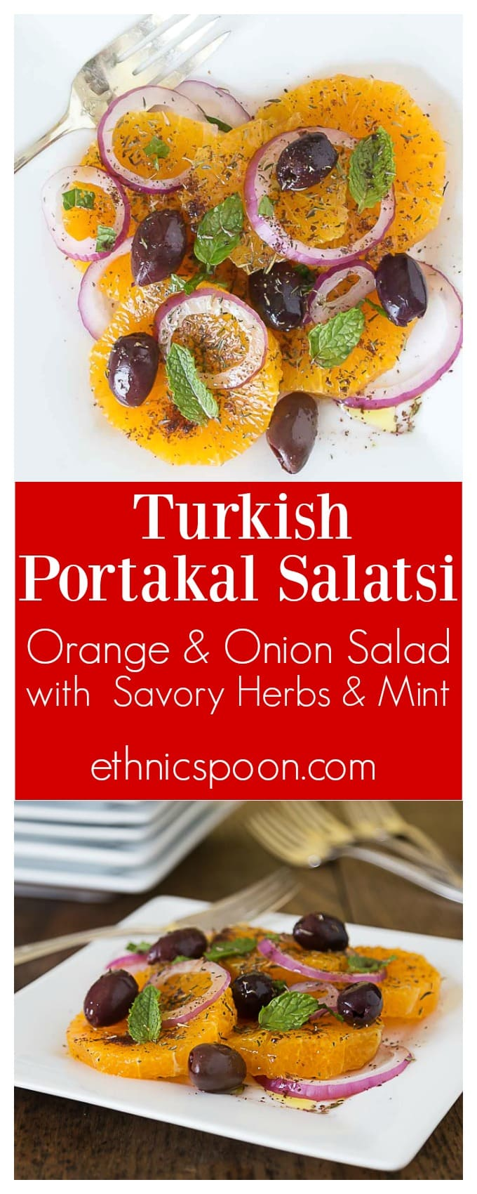 You will love this salad with bright herbs & citrus flavors! Turkish Portakal Salatsi: A salad with orange, onion, thyme, sumac and mint. | ethnicspoon.com