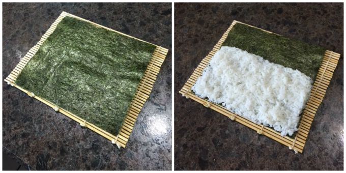 Making sushi recipe : Nori paper and rice on mat