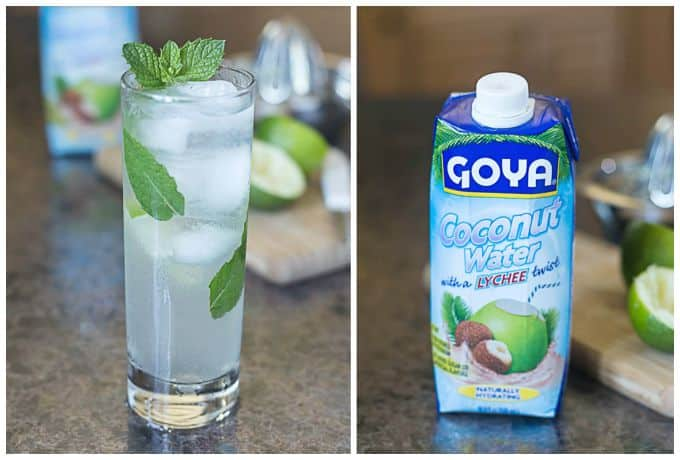 Coconut mojito with Goya coconut water and lychee, lime, mint and rum. | ethnicspoon.com