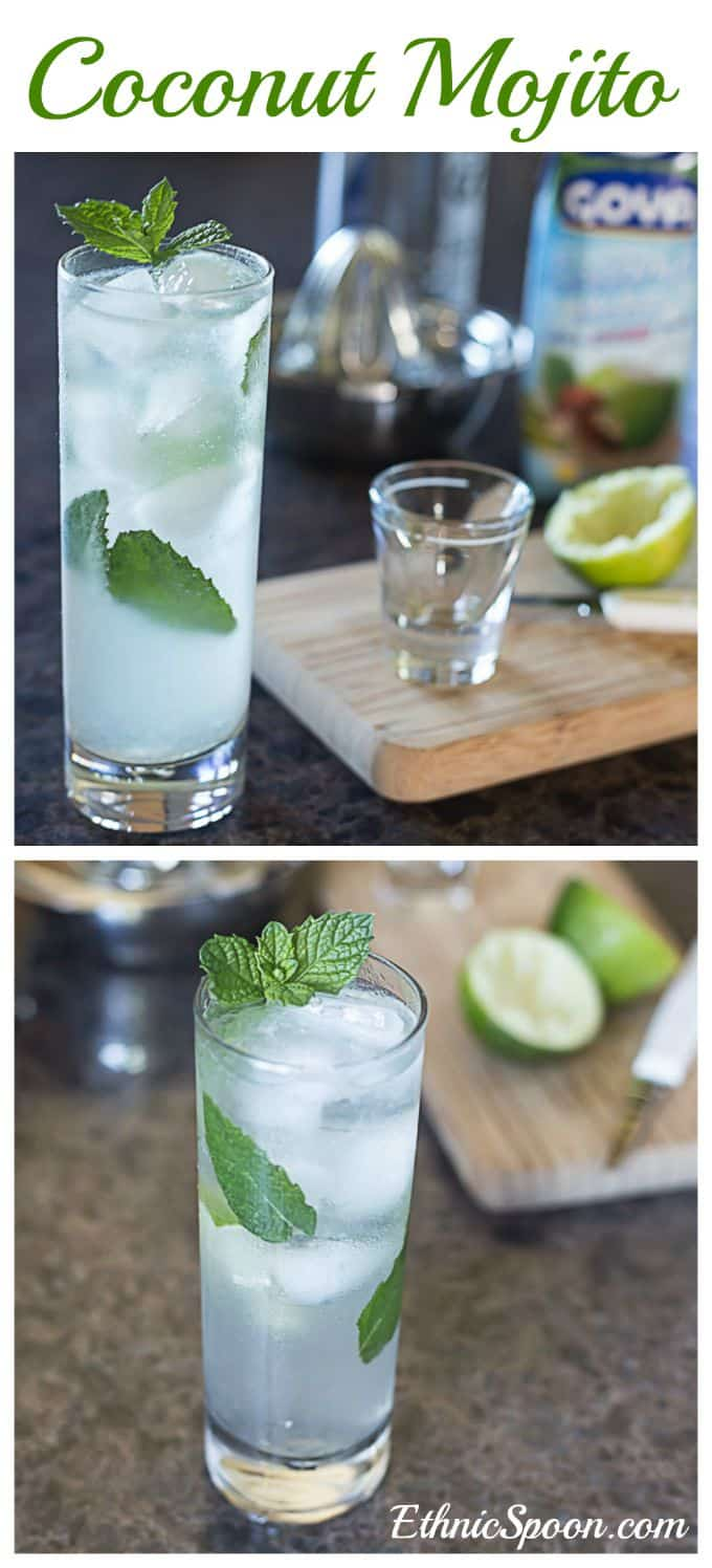 Try this refreshing coconut mojito. Perfect for summer and oh so easy to whip up. | ethnicspoon.com #coconutcocktail #coconutmojito #latindrinks