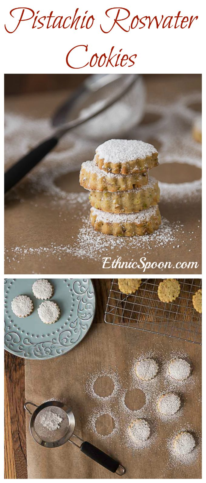 Middle Eastern style shortbread cookies with pistachios and rosewater. You will LOVE these cookies with a nice floral hint from the rosewater. | ethnicspoon.com #middleeasterncookies #middleeastdessert #rosewatercookie