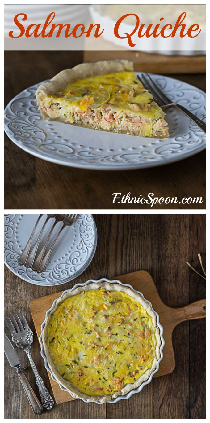 A simple salmon quiche recipe with French tarragon. | ethnicspoon.com