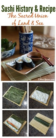 How to make crab or california roll sushi and the history of sushi.   ethnicspoon.com
