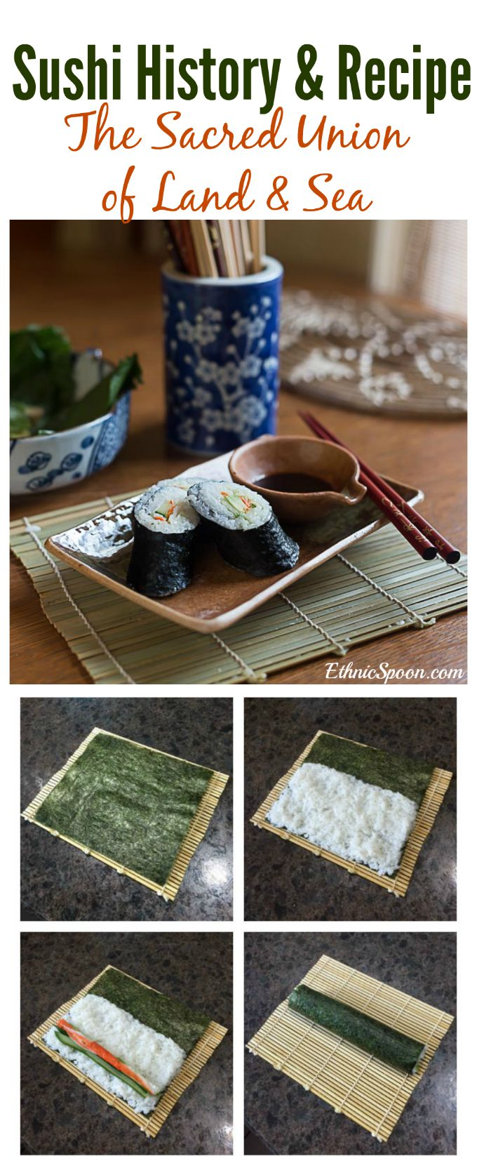 How to make crab or california roll sushi and the history of sushi. | ethnicspoon.com