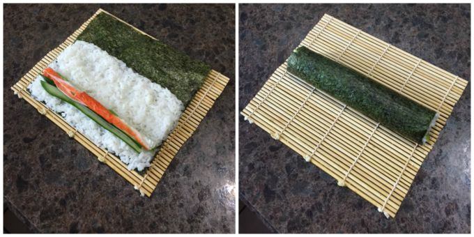 Making sushi: Filling sushi and rolling nori paper