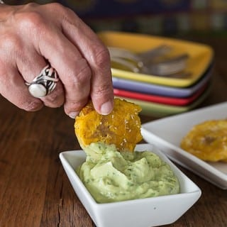 Tostones with Avocado Cream Sauce