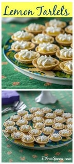 A super easy lemon tartlet recipe made with fresh lemon curd.| ethnicspoon.com