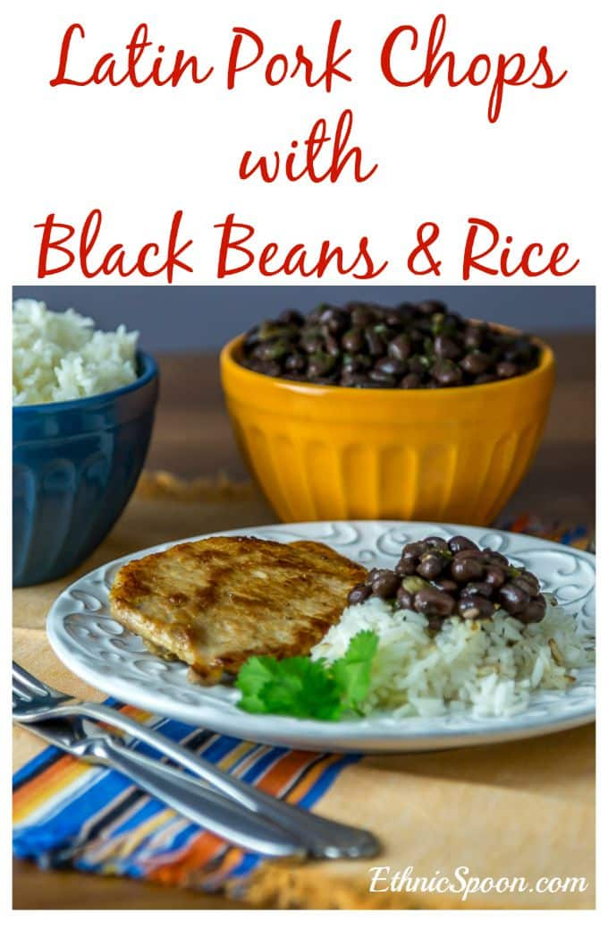 A really simple recipe for Latin American style pork chops or chuletas served with black beans and rice.