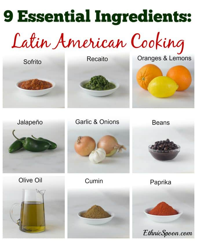 9 Essential ingredients in Latin American cooking, sofrito, recaito, paprika, cumin, beans, oranges, lemons, jalapeño, garlic, onions and olive oil. | ethnicspoon.com