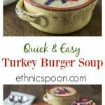 A creamy rich turkey cheese burger soup with onions potatoes, carrots and jalapeno. A lighter version of the popular cheeseburger soup.| ethnicspoon.com