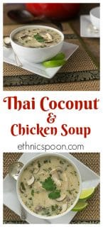 A sweet and savory Thai coconut chicken soup with a balance of flavors with mushrooms and lemon grass. | ethnicspoon.com